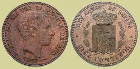 Moneda con la cara de Alfonso XII (extraída de Estadística.net)